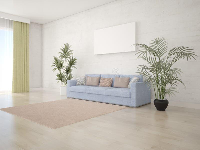 Imite encima de sala de estar brillante con un sofá en un estilo moderno ilustración del vector