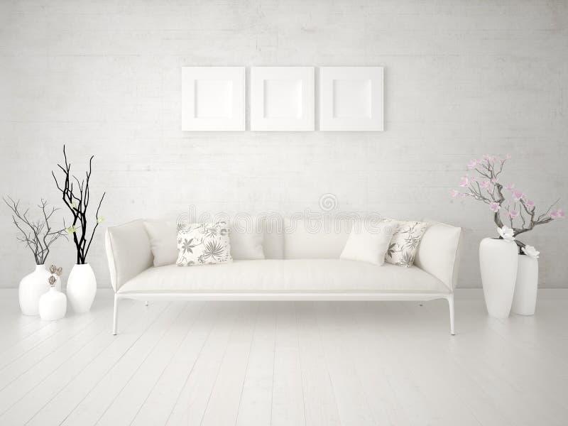 Imite encima de sala de estar de moda con un sofá cómodo ligero ilustración del vector
