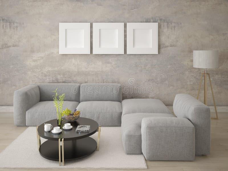 Imite encima de sala de estar de moda con un sofá de la esquina cómodo grande ilustración del vector