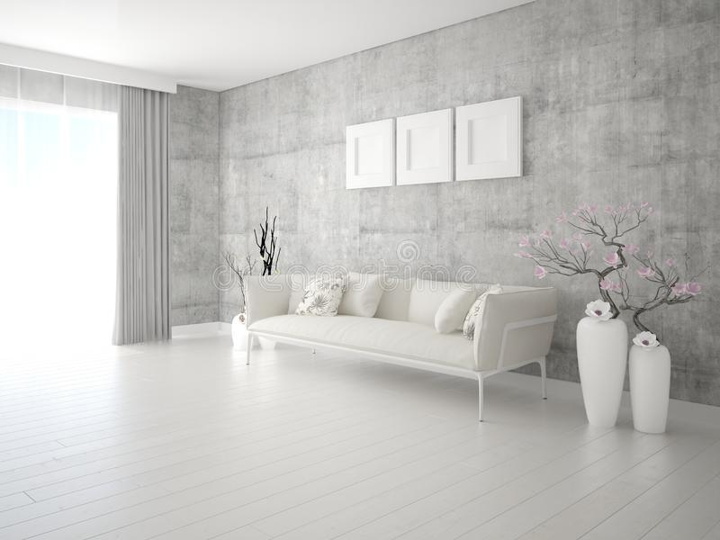 Imite encima de sala de estar de moda con un sofá ligero elegante ilustración del vector