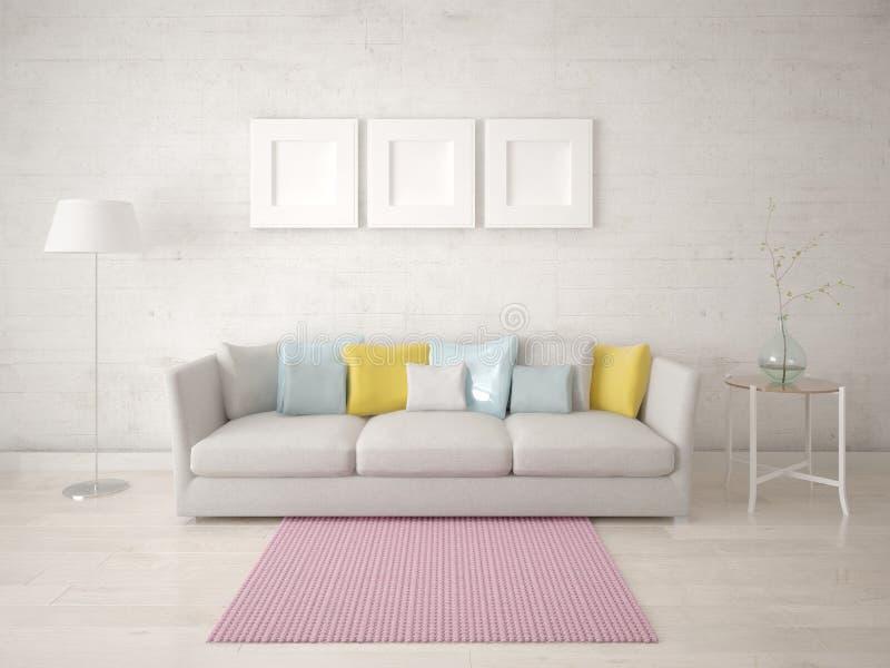 Imite encima de sala de estar de moda con un sof? c?modo compacto ilustración del vector
