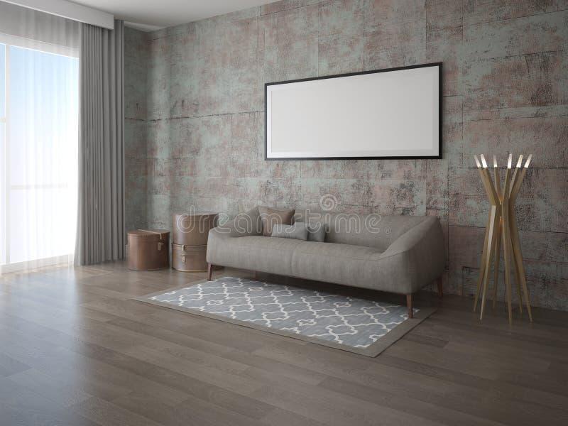 Imite encima de sala de estar moderna con un sofá clásico cómodo ilustración del vector