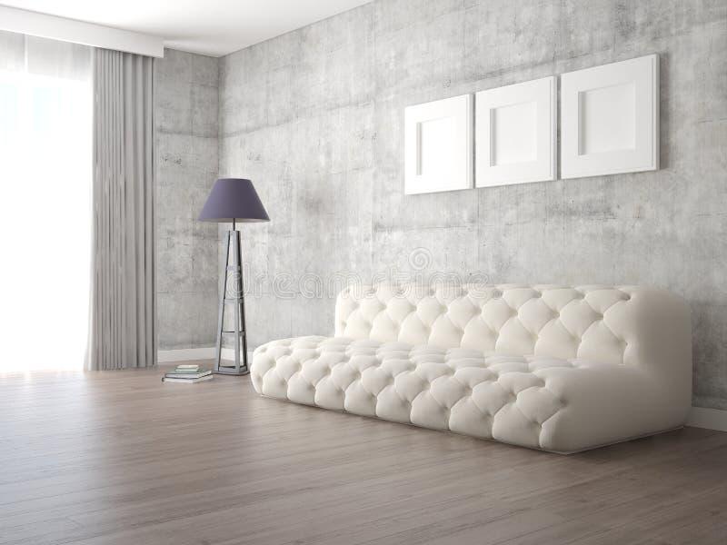 Imite encima de sala de estar moderna con un sofá de moda perfecto stock de ilustración