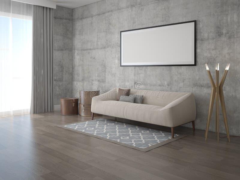 Imite encima de sala de estar original con un sofá cómodo clásico ilustración del vector