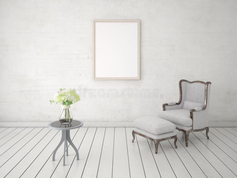 Imite encima de una sala de estar clásica con una butaca cómoda libre illustration