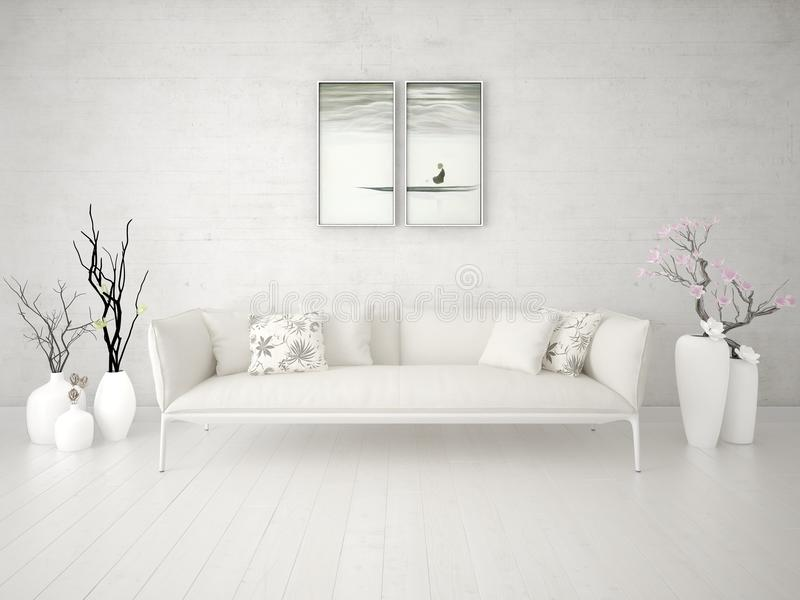 Imite encima de una sala de estar elegante con un sofá beige lujoso ilustración del vector