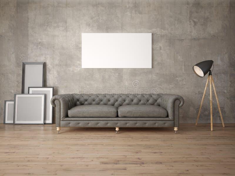 Imite encima de una sala de estar elegante con un sofá clásico ilustración del vector