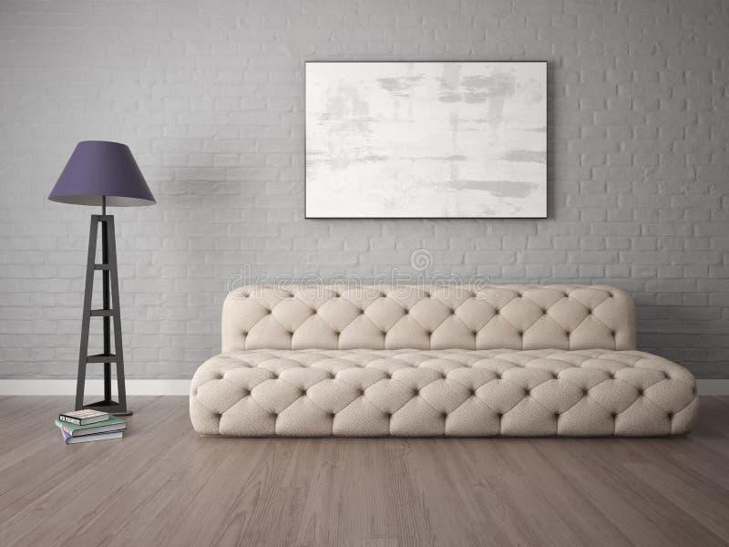 Imite encima de una sala de estar elegante con un sofá de moda libre illustration