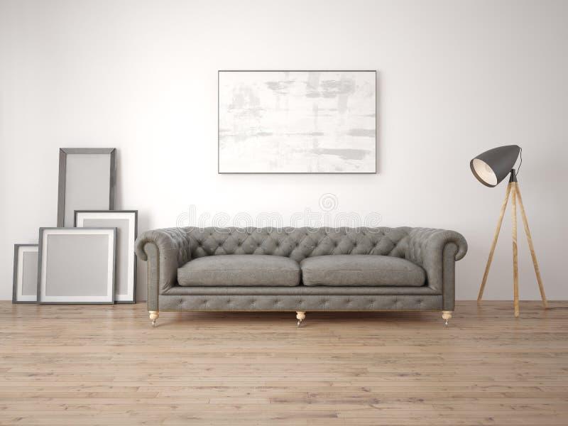 Imite encima de una sala de estar moderna con un sofá clásico libre illustration