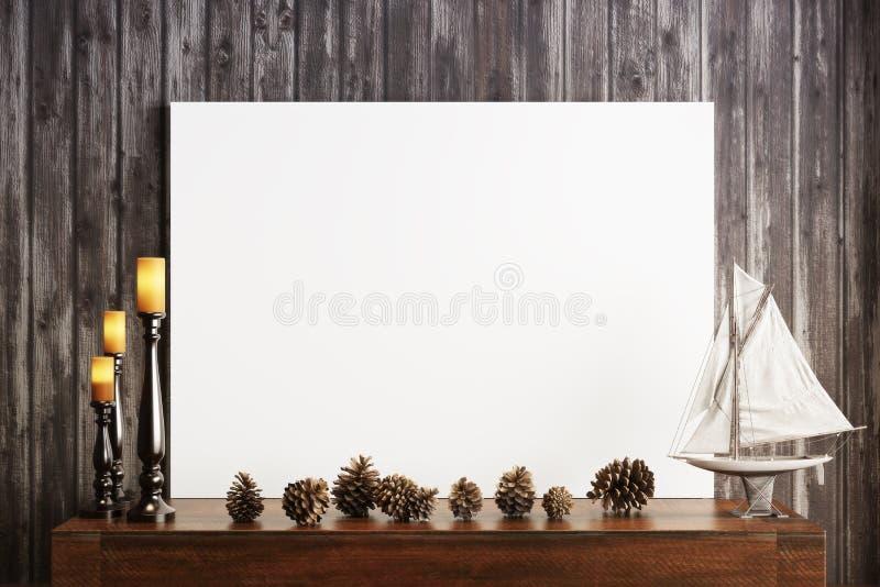 Imite encima del cartel con velas y un fondo de madera rústico stock de ilustración