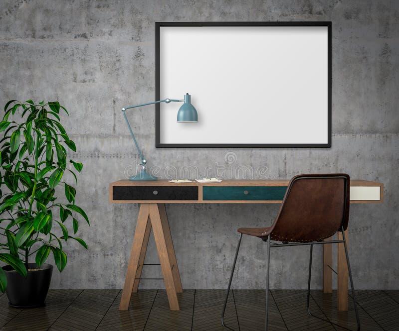 Imite encima del cartel, del escritorio y de la silla, ejemplo 3d ilustración del vector