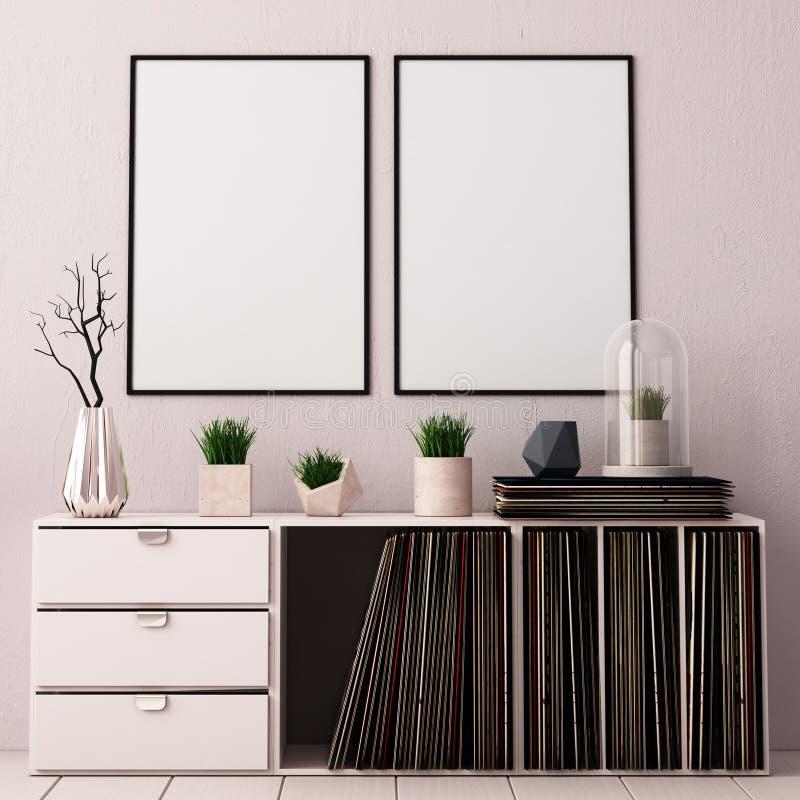 Imite encima del cartel dentro de la sala de estar con el boxeo para los LPs del vinilo estilo de la tendencia del inconformista  ilustración del vector
