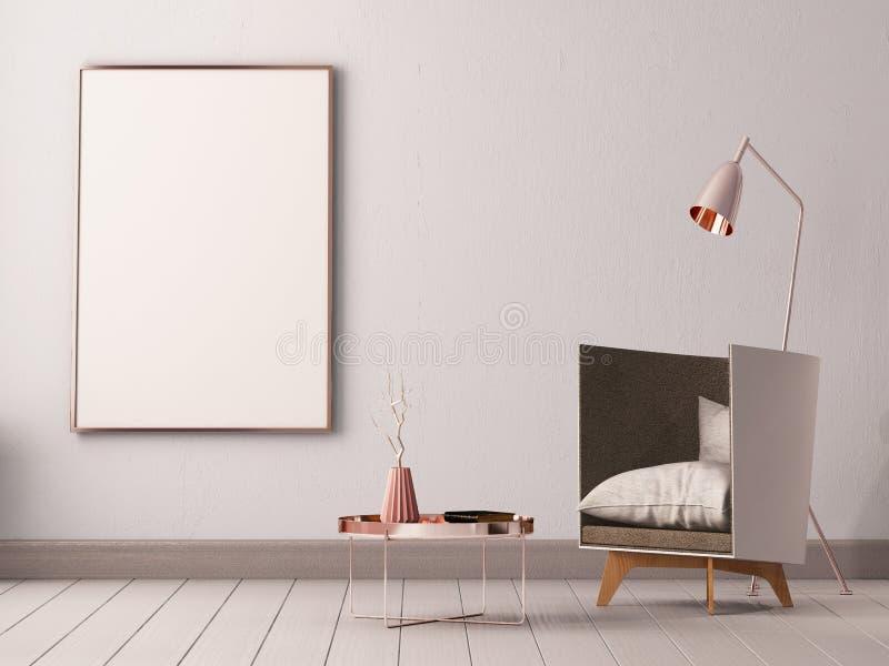 Imite encima del cartel dentro de una sala de estar con las butacas y las lámparas 3d el ejemplo 3d rinde ilustración del vector