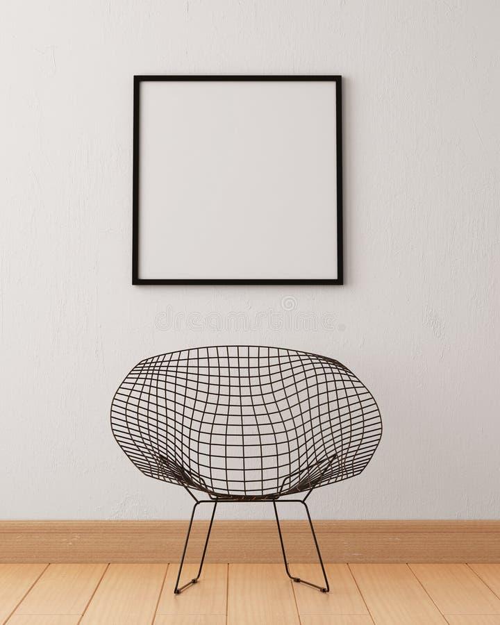 Imite encima del cartel dentro de una sala de estar con una silla esquelética del metal 3d el ejemplo 3d rinde stock de ilustración