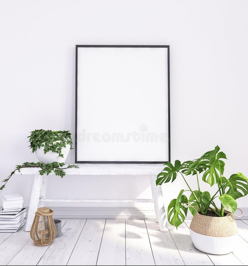Imite encima del cartel en banco viejo con las flores y las cestas fotos de archivo libres de regalías