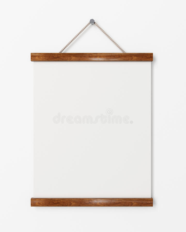Imite encima del cartel en blanco con la ejecución en la pared blanca, fondo del marco de madera