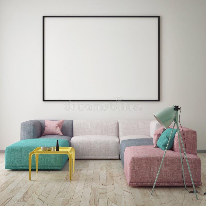 Imite encima del cartel en blanco en la pared de la sala de estar del inconformista ilustración del vector
