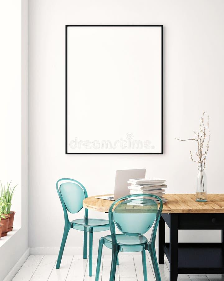 Imite encima del cartel en blanco en la pared de la sala de estar del inconformista, ilustración del vector