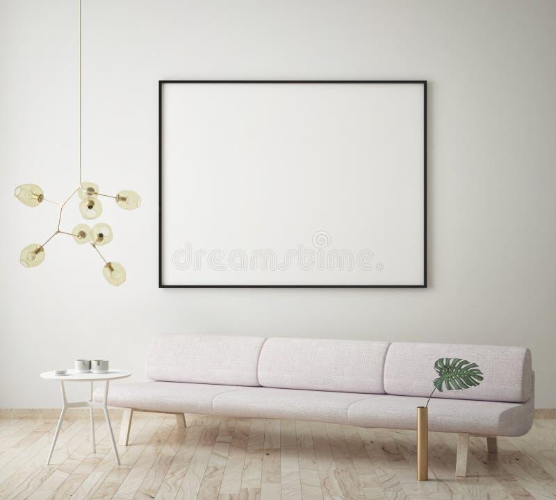 Imite encima del cartel en blanco en la pared de la sala de estar del inconformista, representación 3D, ilustración del vector