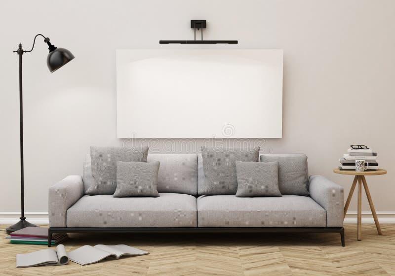 Imite encima del cartel en blanco en la pared de la sala de estar, fondo ilustración del vector