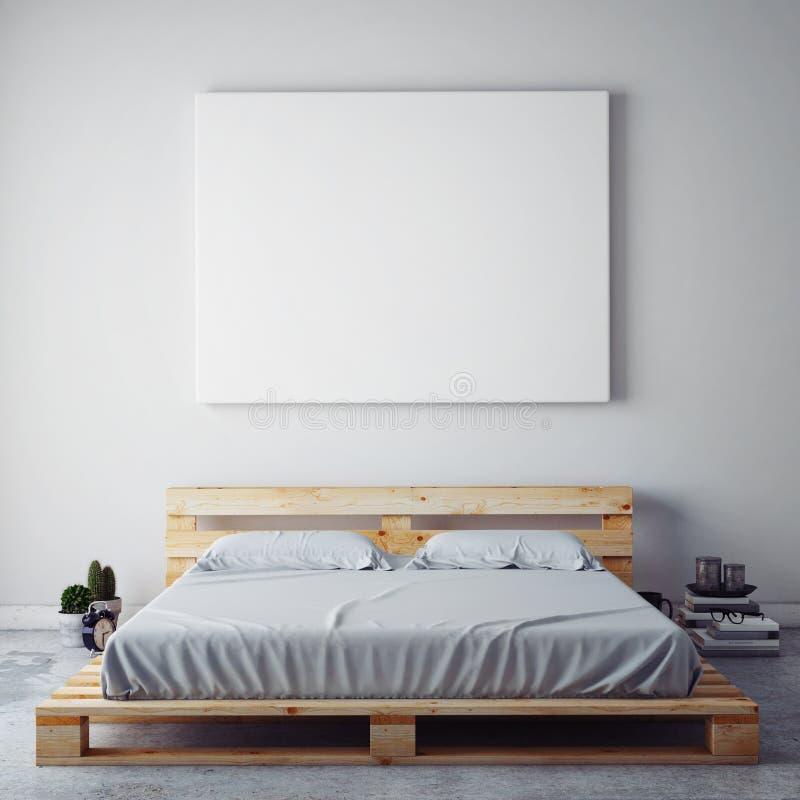 Imite encima del cartel en blanco en la pared del dormitorio ilustración del vector