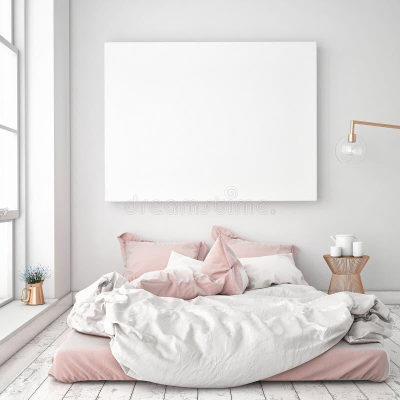 Imite encima del cartel en blanco en la pared del dormitorio stock de ilustración