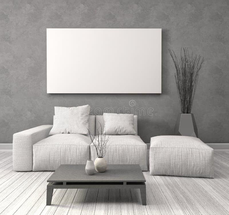 Imite encima del cartel en blanco en la pared del interior con el sofá illus 3d ilustración del vector