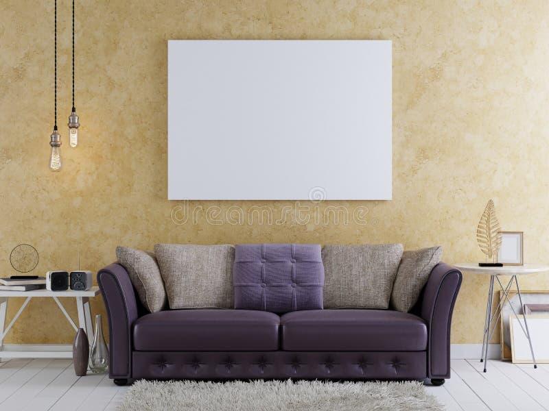 Imite encima del cartel en blanco en la pared de la sala de estar moderna ilustración del vector