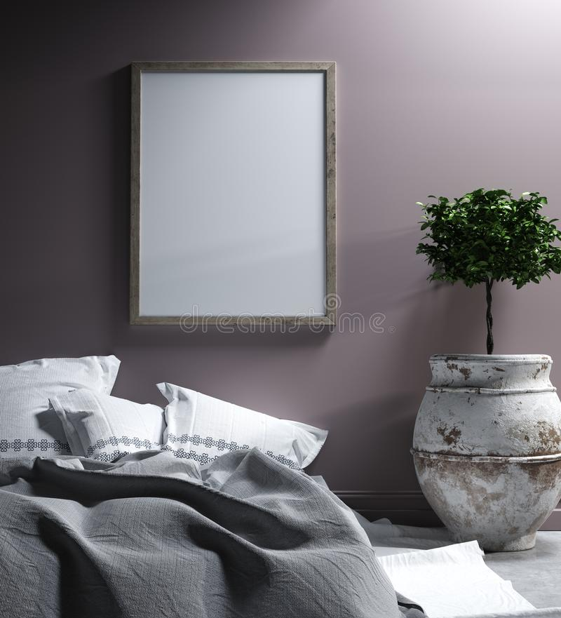 Imite encima del cartel en el dormitorio interior, estilo étnico imagen de archivo