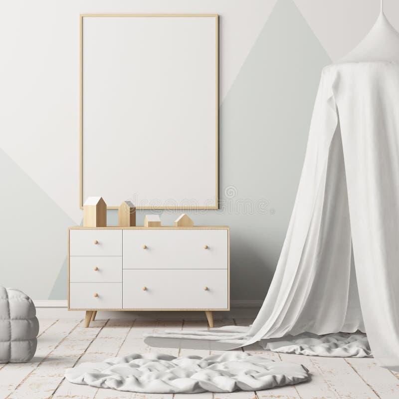 Imite encima del cartel en el dormitorio del ` s de los niños con un toldo Estilo escandinavo 3d libre illustration
