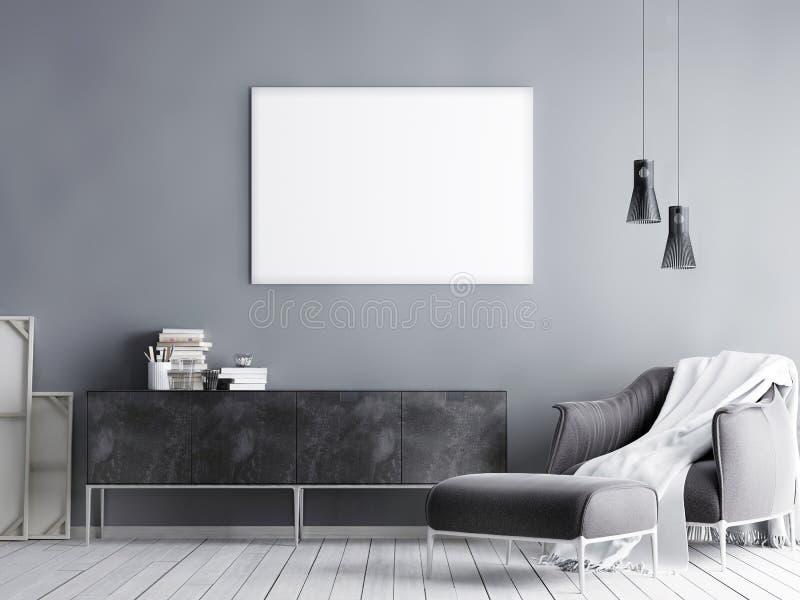 Imite encima del cartel en el fondo interior del inconformista, styl escandinavo stock de ilustración
