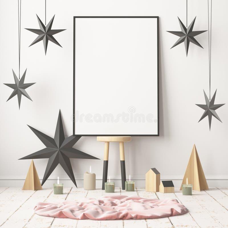 Imite encima del cartel en el interior de la Navidad en estilo escandinavo representación 3d stock de ilustración