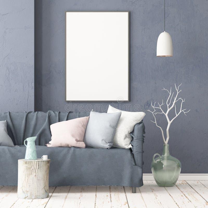 Imite encima del cartel en el interior en el estilo de un retraso con una silla Estilo escandinavo representación 3d libre illustration