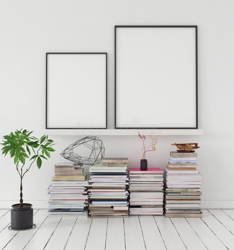 Imite encima del cartel en estante con la pila de revistas y de planta stock de ilustración