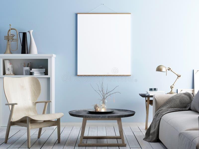Imite encima del cartel en f interior y moderna y elegante escandinava stock de ilustración