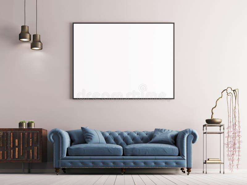 Imite encima del cartel en interior clásico del estilo con el sofá y la planta azules libre illustration
