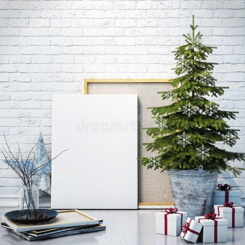 Imite encima del cartel en la pared de ladrillo blanca con la decoración de los christamas, fondo stock de ilustración