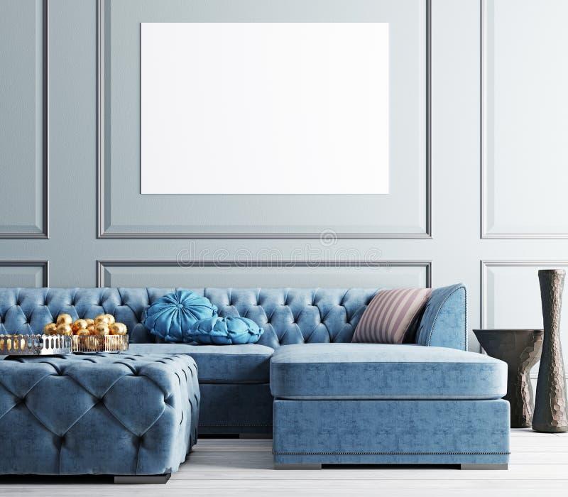 Imite encima del cartel en sala de estar elegante en el apartamento elegante libre illustration