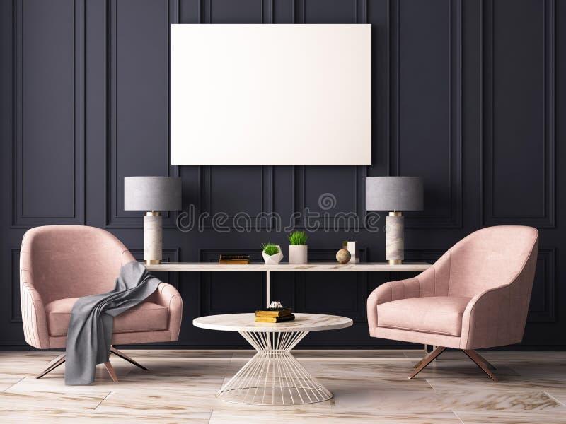 Imite encima del cartel en un interior en colores pastel con butacas y una tabla representación 3d ilustración del vector