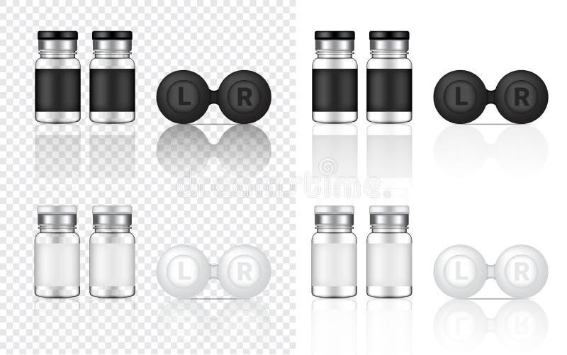 Imite encima del ejemplo transparente realista del fondo de producto de las botellas de las lentes de contacto stock de ilustración