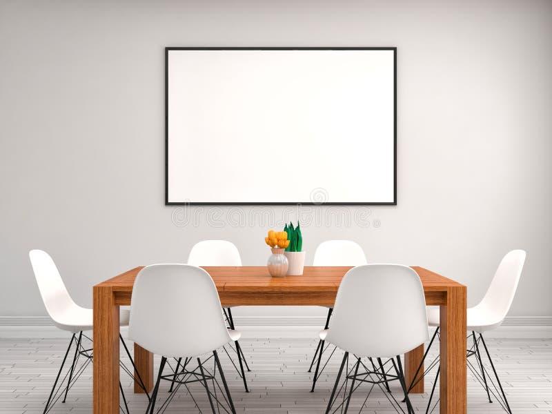 Imite encima del marco del cartel, fondo interior, ejemplo 3D ilustración del vector