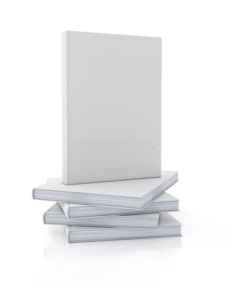 Imite encima del modelo del libro en blanco que se coloca en la pila de libros aislados en el fondo blanco ilustración del vector