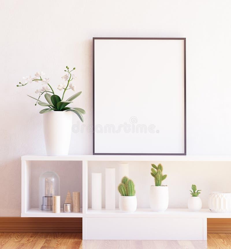 Imite encima del primer del marco del cartel en estante con las flores imagen de archivo libre de regalías