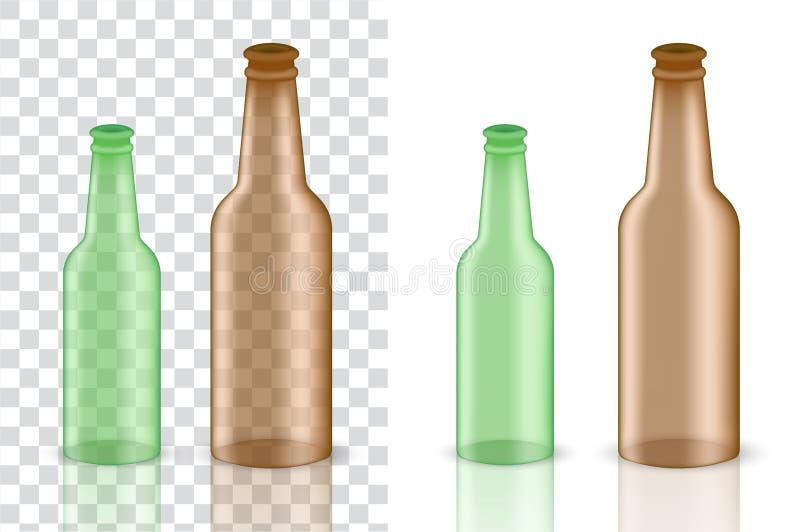 Imite encima del producto realista de Amber Glass Transparent Alcohol Packaging para el fondo aislado botella de la cerveza y de  stock de ilustración