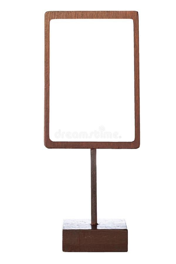 Imite encima del soporte de madera de la muestra de la plantilla del marco del menú aislado fotos de archivo libres de regalías