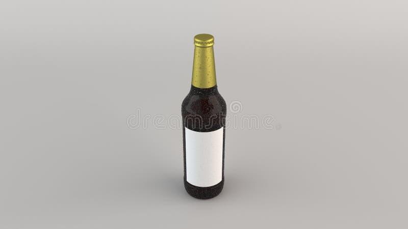 Imite para arriba de la botella de cerveza alta con la etiqueta y la condensación en blanco libre illustration