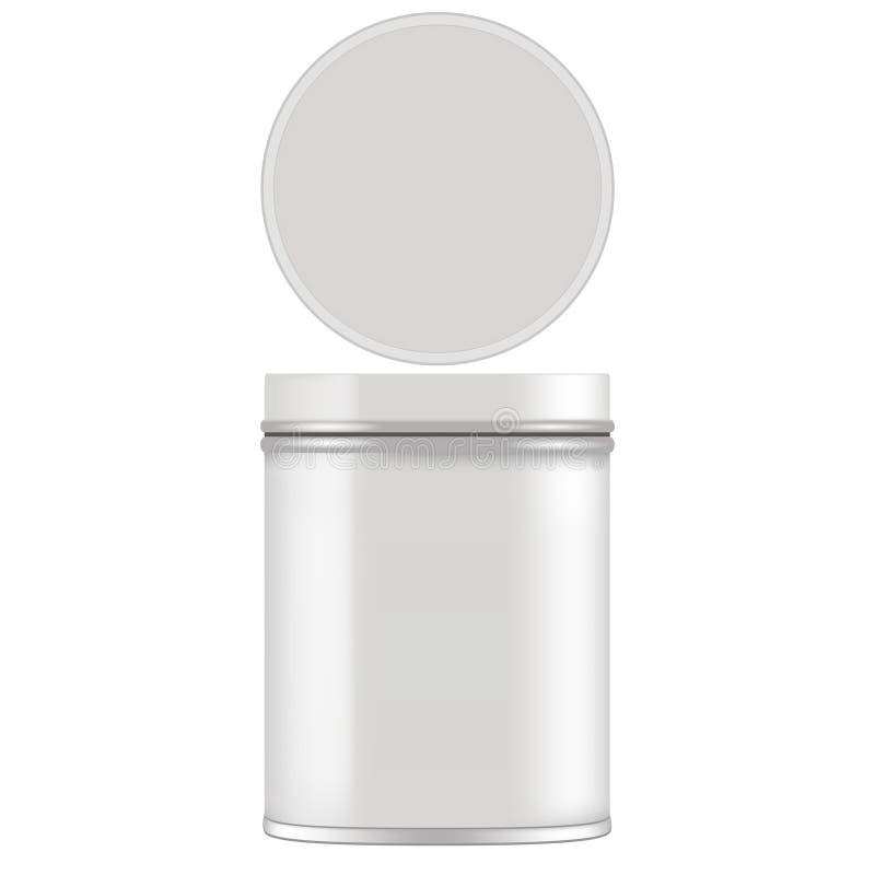 Imite para arriba de la lata redonda del metal para el regalo Vector aislado en el fondo blanco ilustración del vector