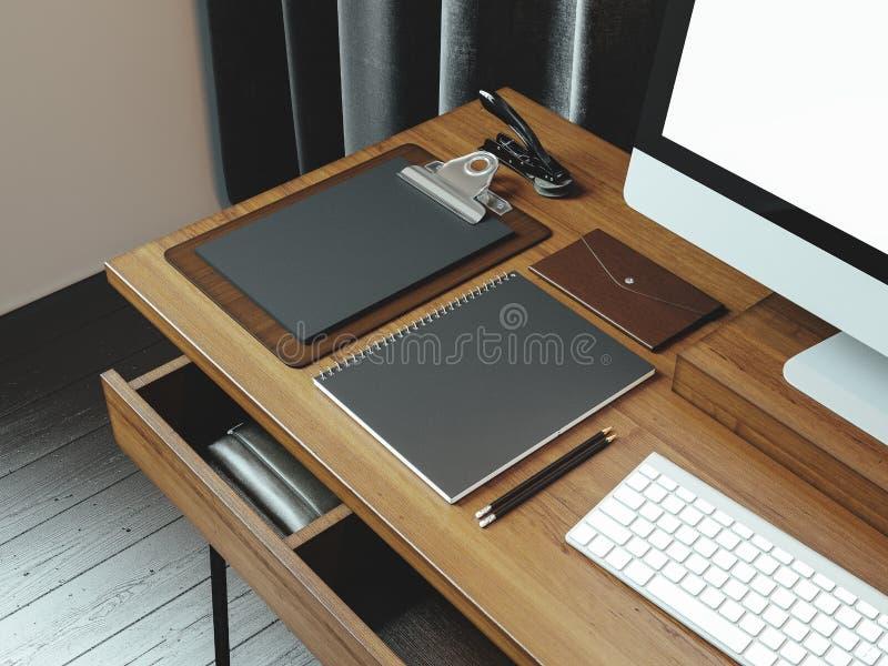 Imite para arriba de la pantalla de ordenador y del espacio de trabajo genéricos del diseño 3d arrancan stock de ilustración