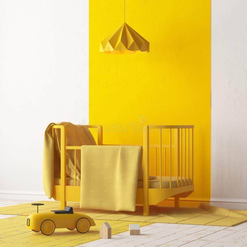 Imite para arriba de un dormitorio del ` s de los niños en un color localmente amarillo Estilo escandinavo representación 3d ilustración del vector