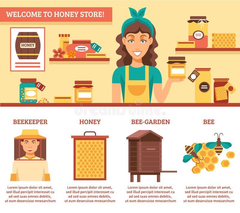 Imkerij Honey Infographics vector illustratie